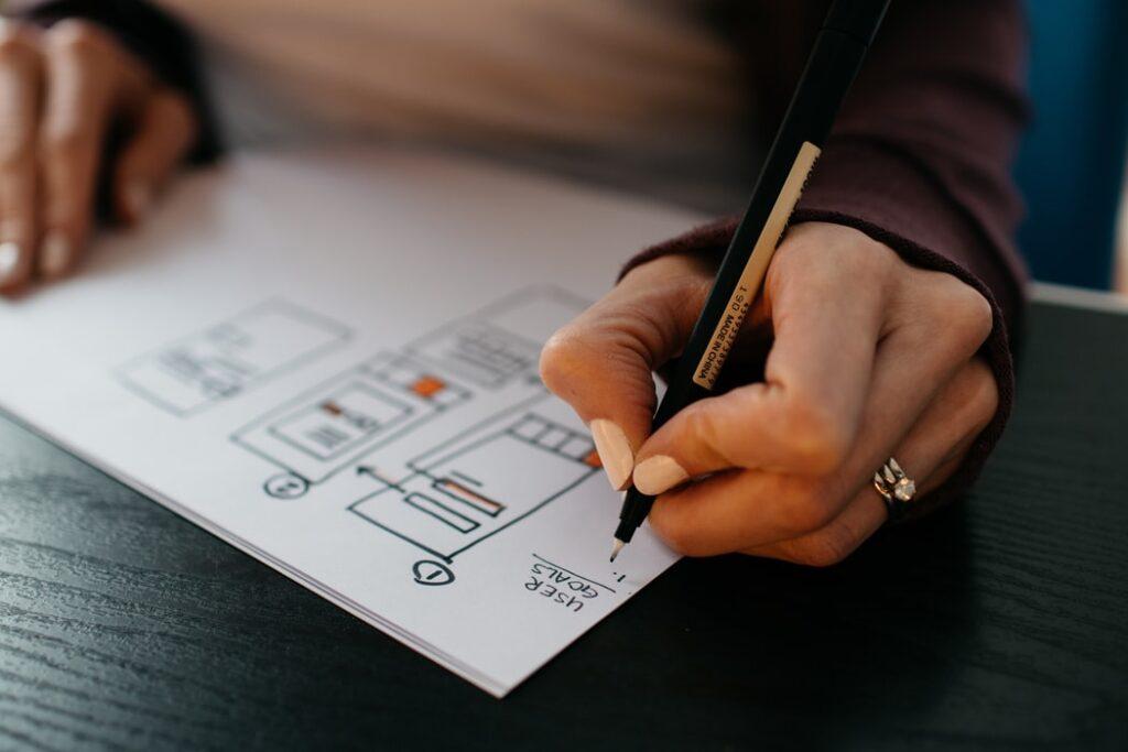 Kobieta rozrysowująca makietę UX strony WWW, w celu zwiększenia współczynnika konwersji w sklepie internetowym